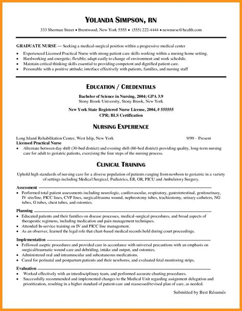 New Grad Rn Resume by 14 15 Rn Resume Sles New Grad Southbeachcafesf