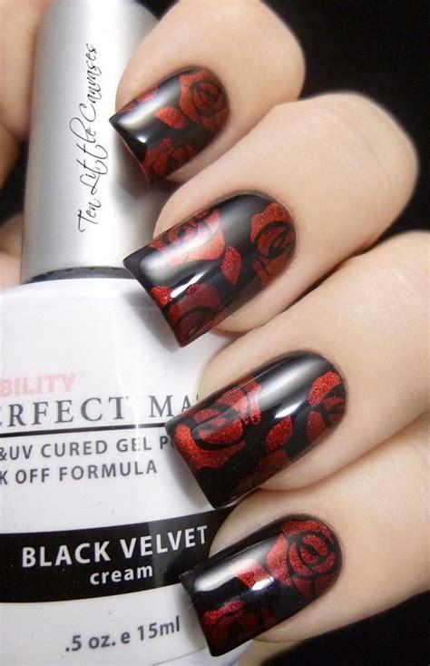 stylish red  black nail designs
