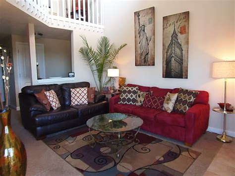contemporary living rooms dining rooms with red and