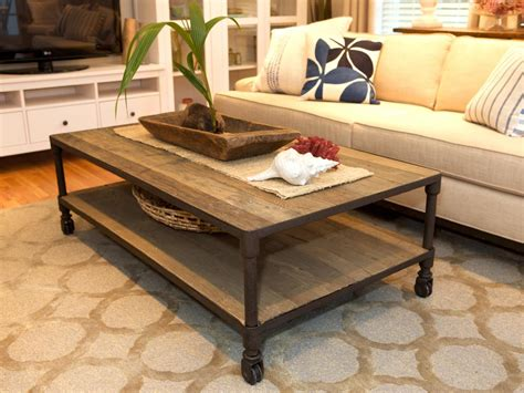 Rustic Details A Reclaimed Lumber Coffee Table Features Small Casters Underneath Adding An