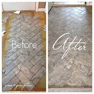 diy herringbone peel n stick tile floor before and after With how to lay sticky tile in bathroom