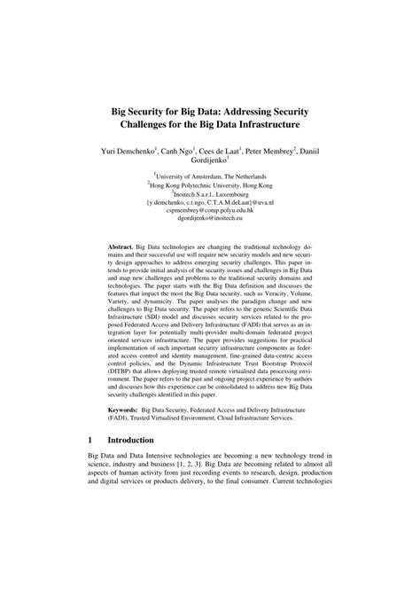 (PDF) Big Security for Big Data: Addressing Security