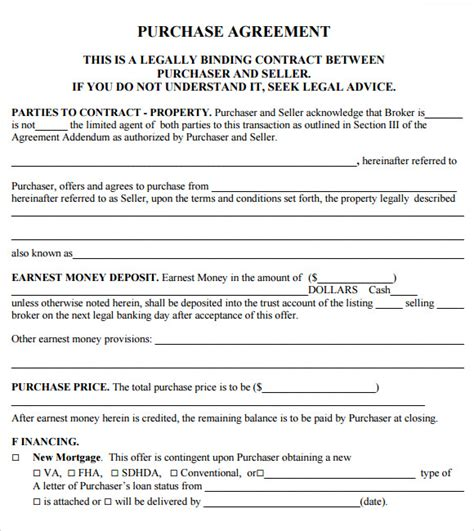 Purchase Agreement Template 11 Sle Purchase Agreements Sle Templates