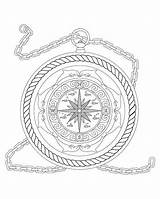 Nautical Coloring Compass Pages Adult Rope Star Mandala Adults Dolphins Fantasy Colouring Theme Etsy sketch template