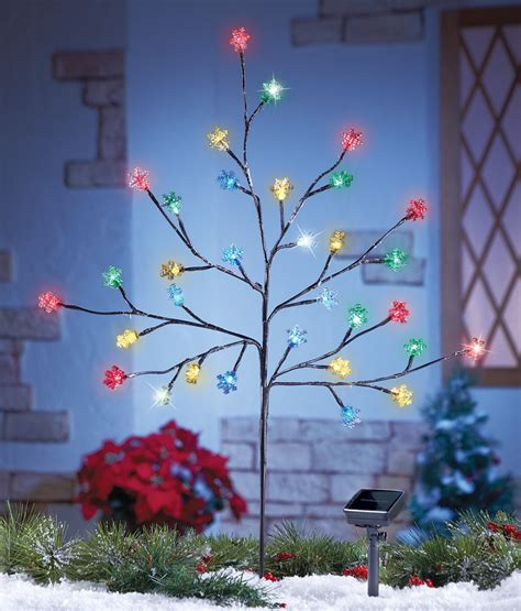 solar powered multi color christmas snowflake branch tree