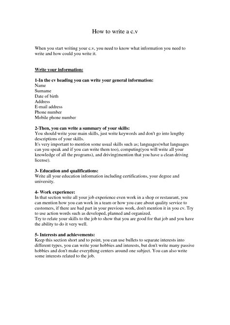 How To Write Your Cv Exles by How To Write A Cv Fotolip Rich Image And Wallpaper