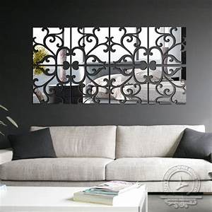 diy 4lot set 3d home decoration acrylic mirror wall With wall mirror design for living room