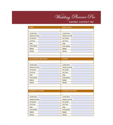 wedding guest list template   word excel