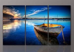 Gemälde Für Wohnzimmer : designbilder wandbild boot meer see blau leinwand wohnzimmer kunst 160x90cm ebay ~ Markanthonyermac.com Haus und Dekorationen