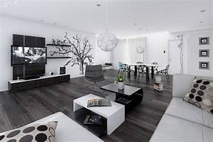 14 black and white living dining room interior design ideas With black and white interior design living room