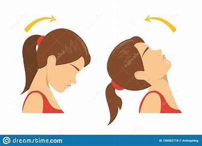 Head Neck Down Rotation Exercise Turning Cartoon