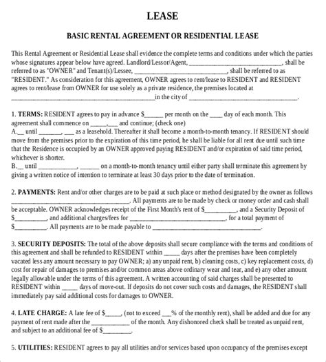 rental agreement templates   word  documents