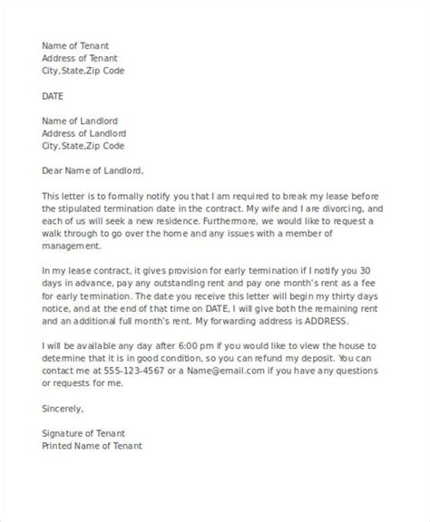 early lease termination letter 53 termination letter exles sles pdf doc