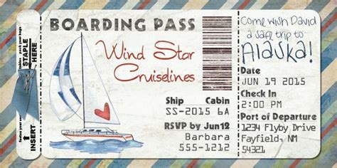 sailboat boarding pass invitation  wedding birthday save