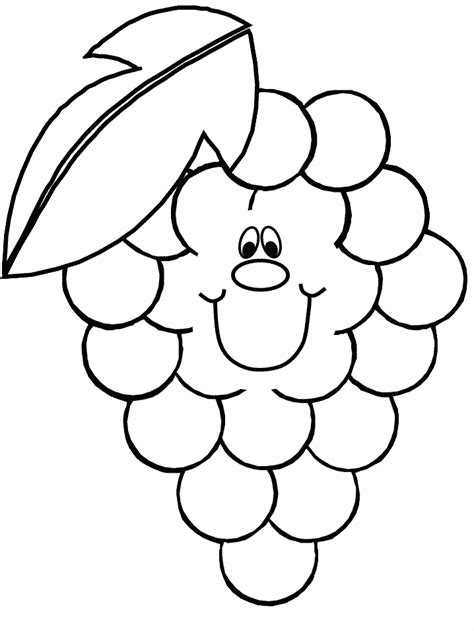 Coloring Grapes by Smiley Grapes Coloring Pages For Coloring Point