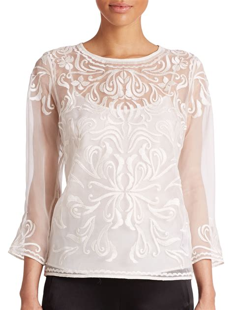 s sheer blouses escada embroidered sheer blouse in white lyst