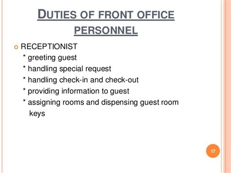 Front Desk Receptionist Duties by Chapter 1 Front Office Practice