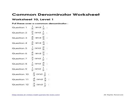 finding common denominator worksheets 4th grade worksheets