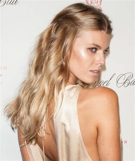 Maryna Linchuk Straight Casual Half Up Hairstyle   Medium