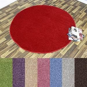 Teppich Rund Kurzflor : design kurzflor teppich beshir rund verschiedene farben 133cm oder 200cm ~ Frokenaadalensverden.com Haus und Dekorationen