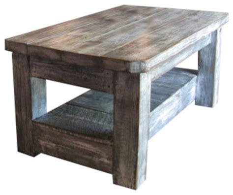 Weathered Grey Coffee Table With Shelf Rustic Coffee
