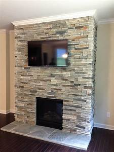 Stacked, Stone, Tile, Fireplace