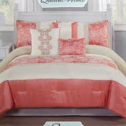 coral blossom 7 piece queen bedding set 611951559