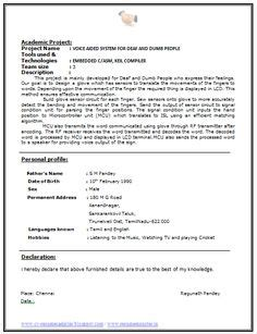 fresher resume sle of a fresher b tech mechanical with
