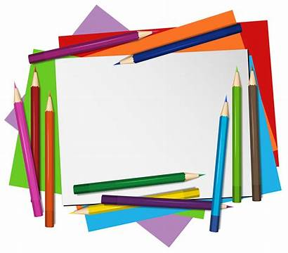 Paper Pencils Background Blank Vector Crayon Clipart