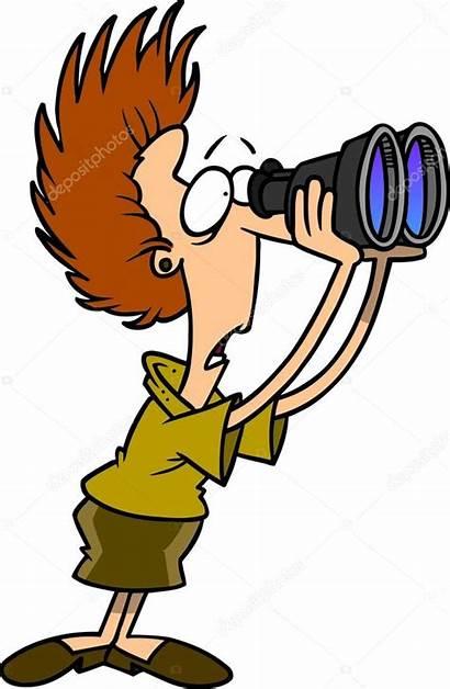 Cartoon Binoculars Zoek Vrouw Door Looking Stockillustratie
