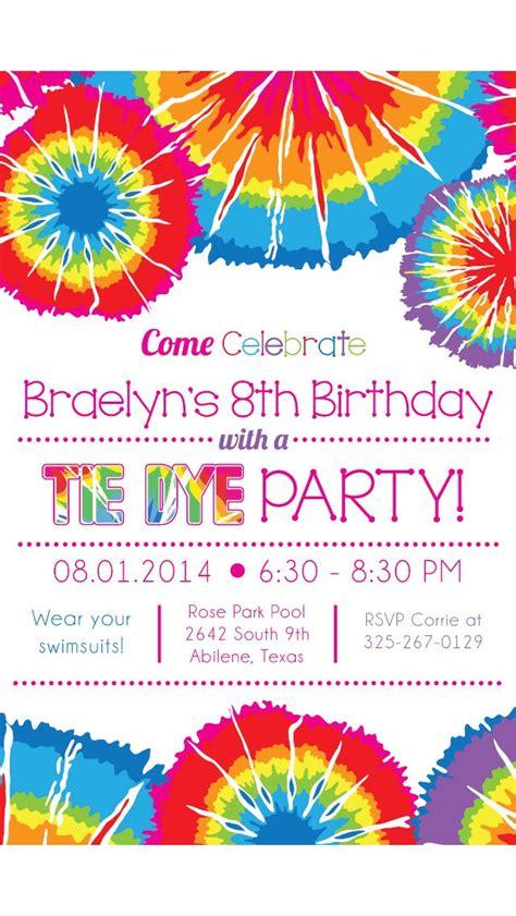 tie dye party invitation tie dye party hippie birthday