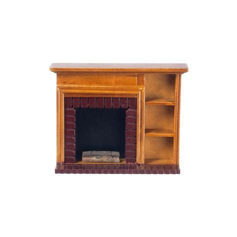 Fireplace W/shelves, Walnut   Dollhouse Miniature