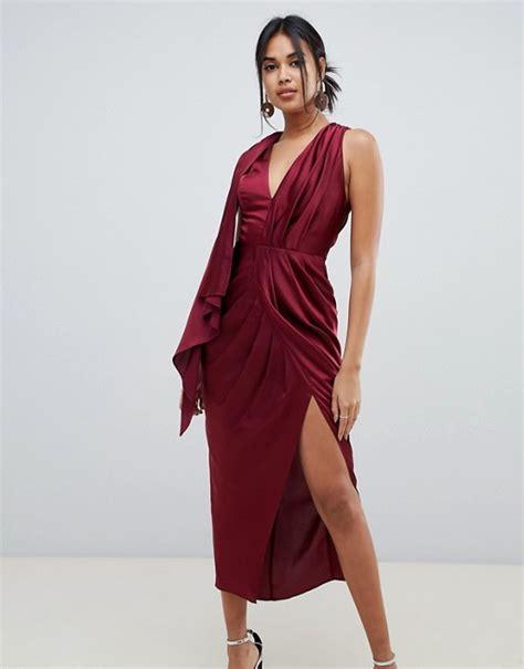 asos drape dress asos design occasion sleeveless satin drape midaxi dress