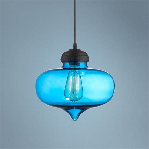 possini darby 10 1 2 quot wide blue glass pendant light