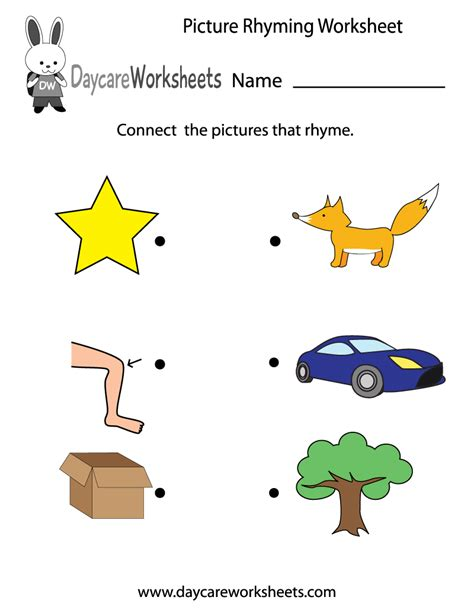 free preschool picture rhyming worksheet 389 | picture rhyming worksheet printable
