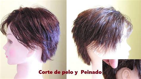 corte de pelo corto  dama  flequillo largo en el