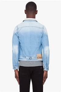 g faded arc denim jacket in blue for lyst