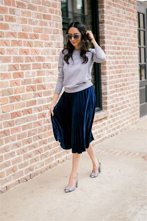 Picture Of a grey top a navy pleated midi skirt grey ...