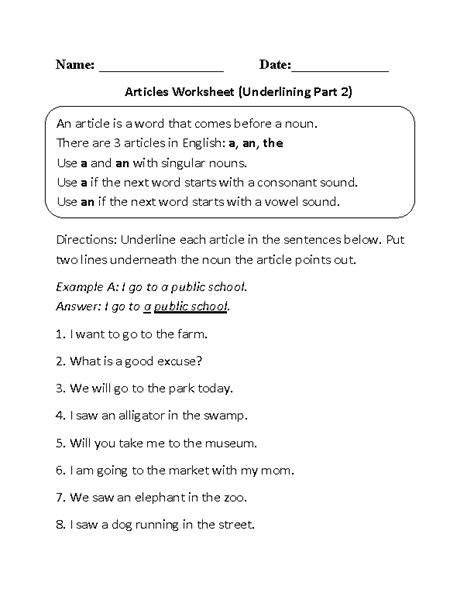 englishlinx articles worksheets