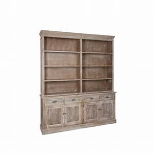 Meuble Bibliothèque Bois : biblioth que double 190cm bois gris patin blanchi paolia ~ Teatrodelosmanantiales.com Idées de Décoration