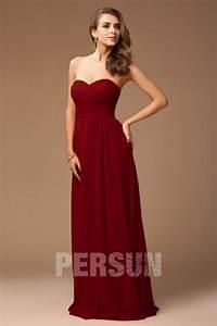 robe demoiselle d honneur rouge longue bustier coeur avec With ajouter des bretelles à une robe bustier