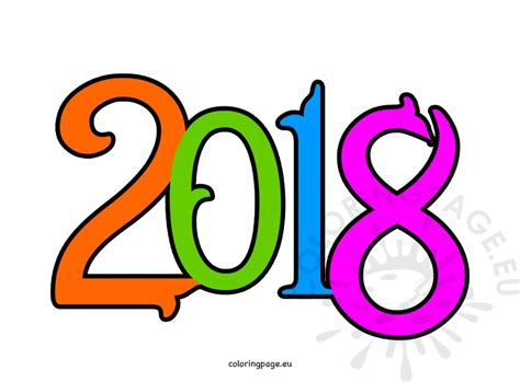 New Year Clipart Happy New Year 2018 Clipart Coloring Page