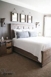 DIY Rustic Modern King Bed - Shanty 2 Chic