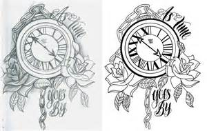 Time Clock Tattoo Drawing Designs
