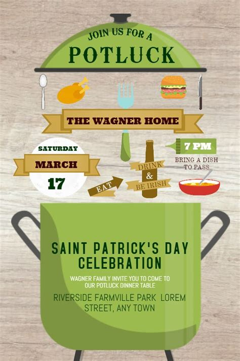 st patricks day flyer design template potluck images