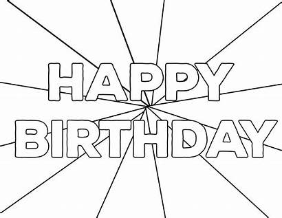 Coloring Birthday Happy Printable Pages Paper Card