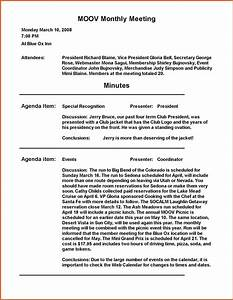 Meeting minutes sample general resumes for Standard minutes of meeting template