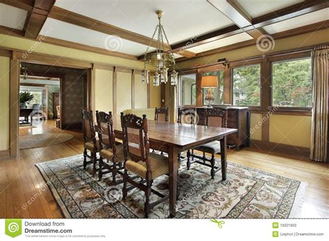 dining room  wood beam ceilings stock image image