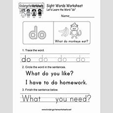 """This Is A Sight Word Worksheet For Kindergarteners Kids Will Be Able To Learn The Word """"do"""