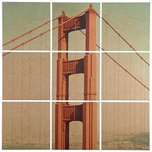 9 piece golden gate bridge mural on wood lavorist With kitchen colors with white cabinets with golden gate bridge wall art